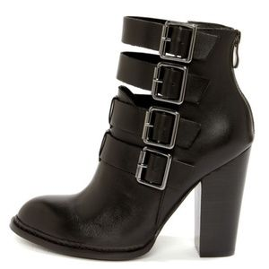 Chinese Laundry Gadget Black Leather Buckled High Heel Booties 8